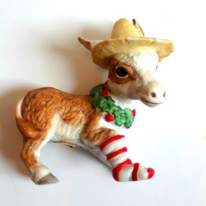 Vintage Enesco Christmas Donkey Silly Hat Stocking
